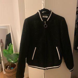 Black sparkly bomber jacket